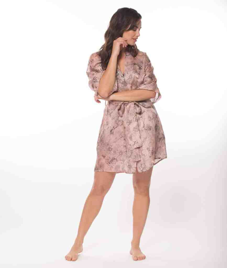 silk short robe with our Christine Lingerie floral arabella print is worn by a women