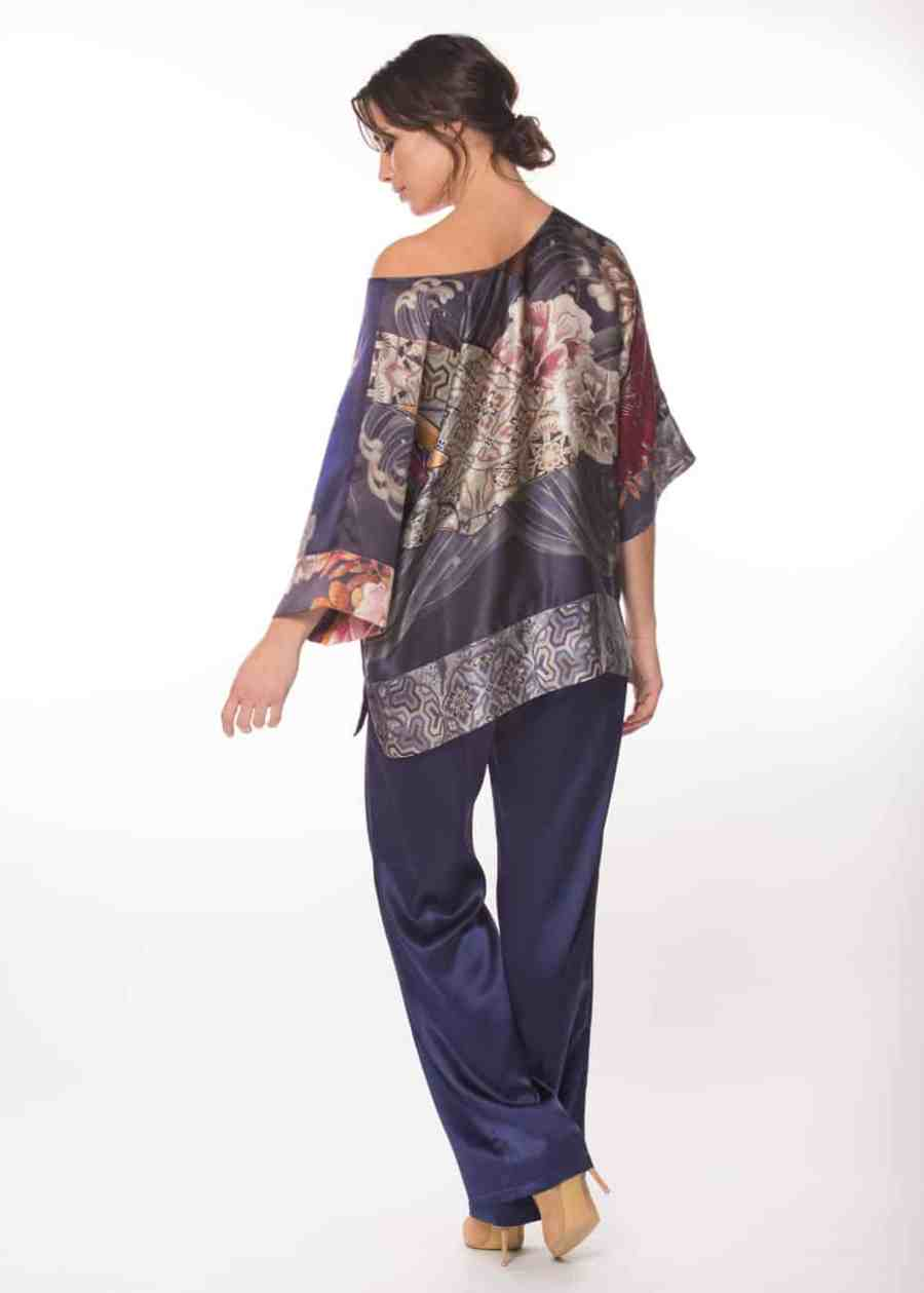 silk lounge top with a Geisha print is worn by a women