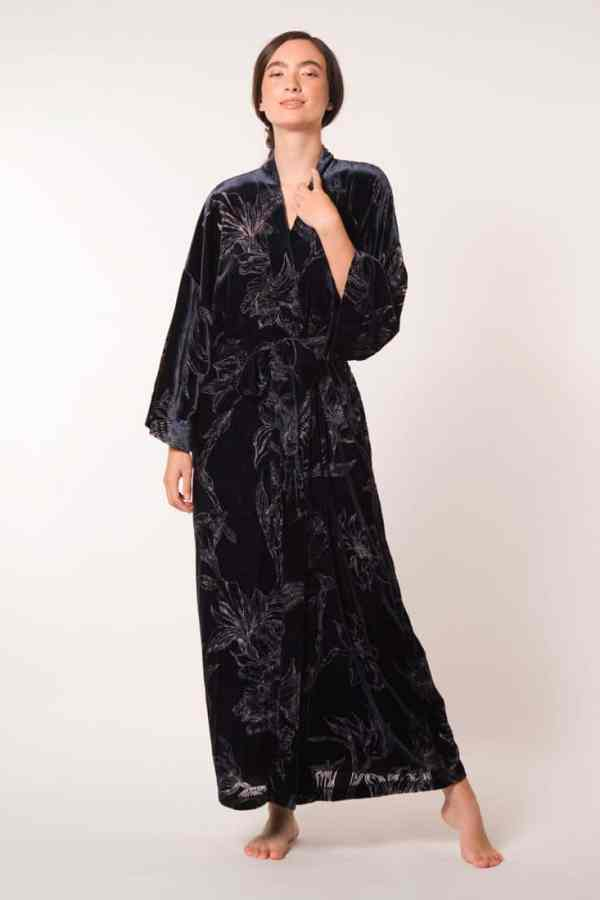 Midnight Fabergé Velvet Long Robe