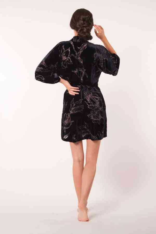 Midnight Fabergé Velvet Short Robe
