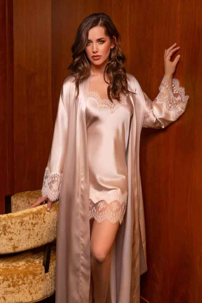 Heirlooom Collection Taupe Silk and Lace Chemise and Robe