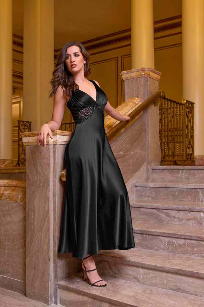 Christine Classics Collection Black Silk Gown