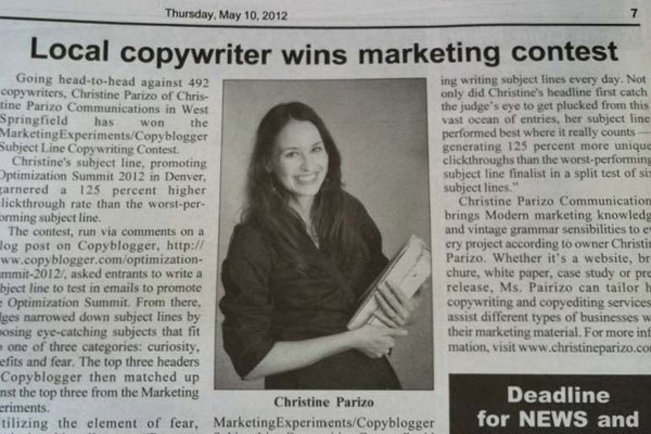 Local Copywriter Wins Marketing Experiments Subject Line Test with 125% More Clickthroughs