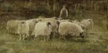 'Farmer' 2008 watercolour. Sold