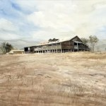 "A painting of the Shearing shed at ""Newstead North"". It's on a hill, with brown grass and summer sky above."