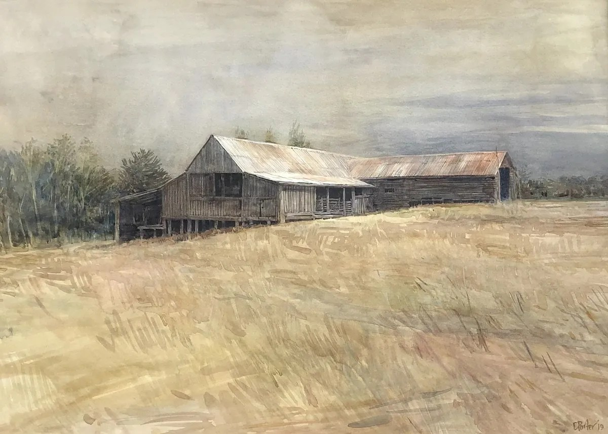 "Watercolour painting by Christine Porter of the shearing shed at ""Boorolong"" near Srmidlae. showing the slab walls, and corrugated iron roof. In the disance is a dark sky. in the foreground, more greas than was actually there at that time"