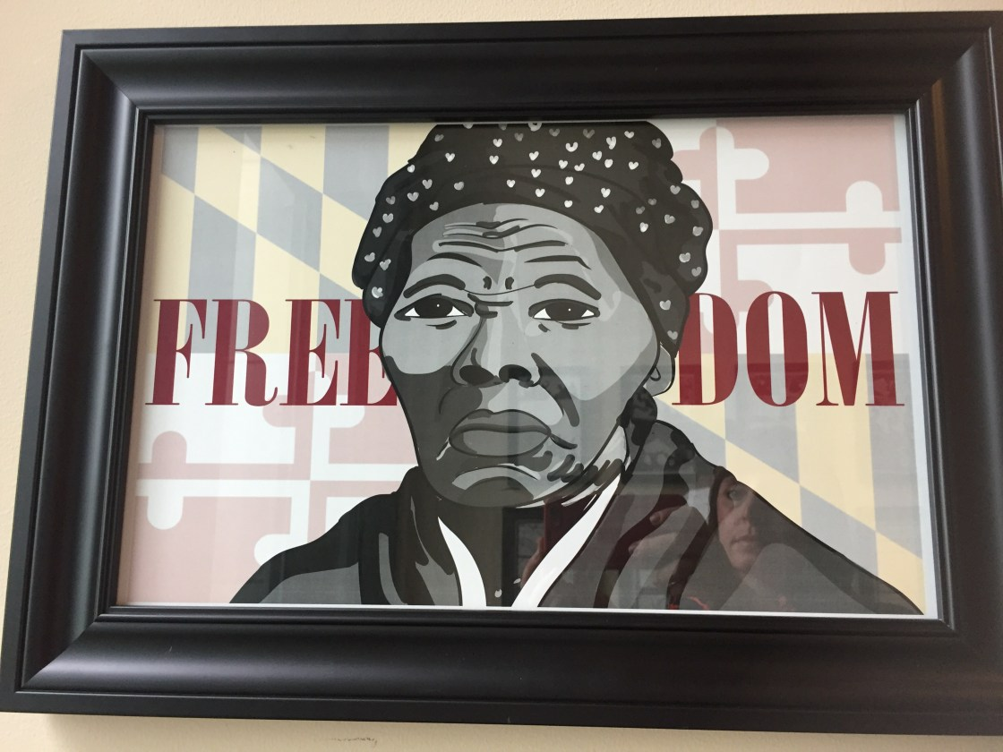 Student artwork of Tubman on display