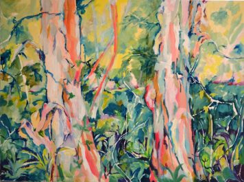 Oil painting of Paperbark trees