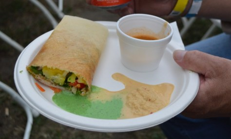 Dosa with coconut and mint sauces and veg soup