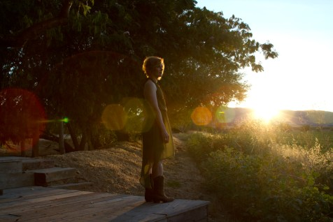 Singer songwriter Christine Rosander at Park Winters during sunset for the filming of Been A Long Time album video and song.