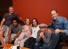 Group photo of the band at the studio during the recording of the Been A Long Time album.