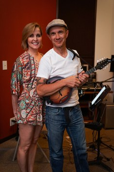 Singer songwriter Christine Rosander and guitar player Mick Taras at the studio.