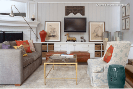 focal point in living room-How to place your furntiture in an awkward living room layout with a corner fireplace_ChristineTseInteriors