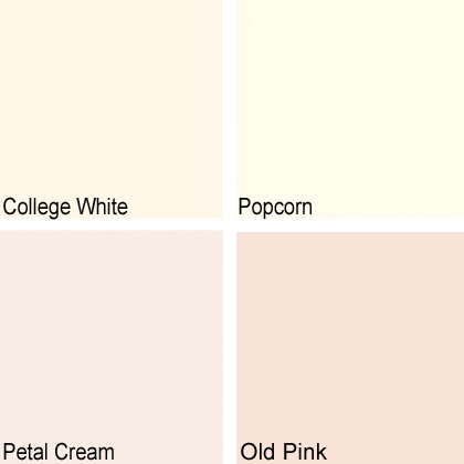 Rita König Colours_College White_Popcorn_Petal Cream_Old Pink