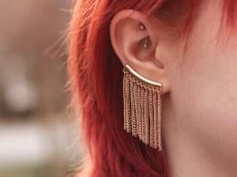 Gold Fringe ear cuff