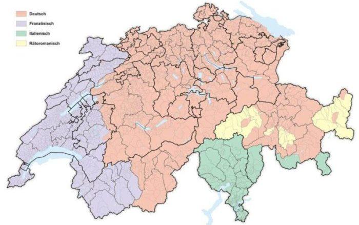 Schweizer Karte mit Sprachregionen