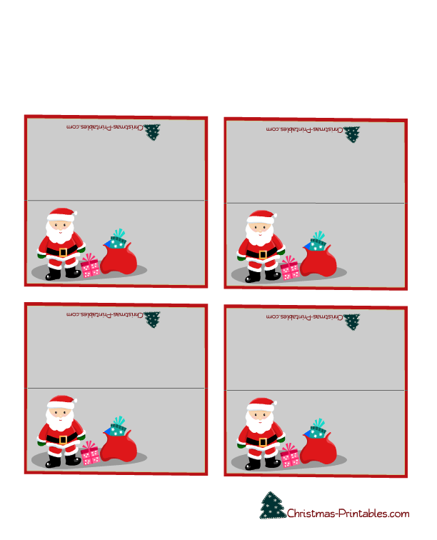 Cute Place Cards Featuring Santa And Gifts