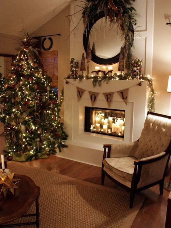 Christmas Mantel Decorations Fireplace On