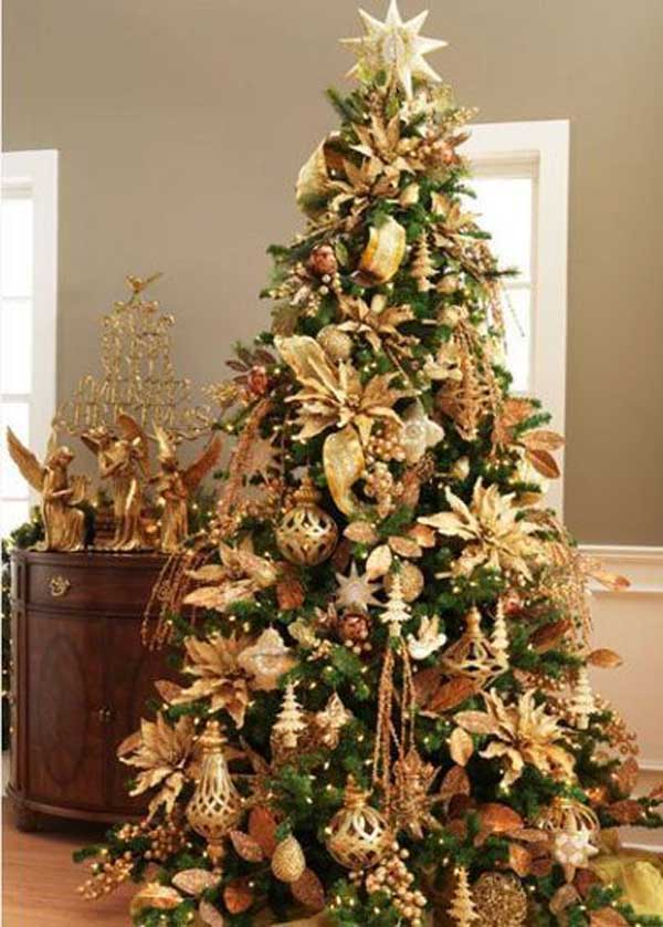 Gold Christmas Decoration Ideas   Christmas Celebration   All about     Gold Christmas Tree Decorations