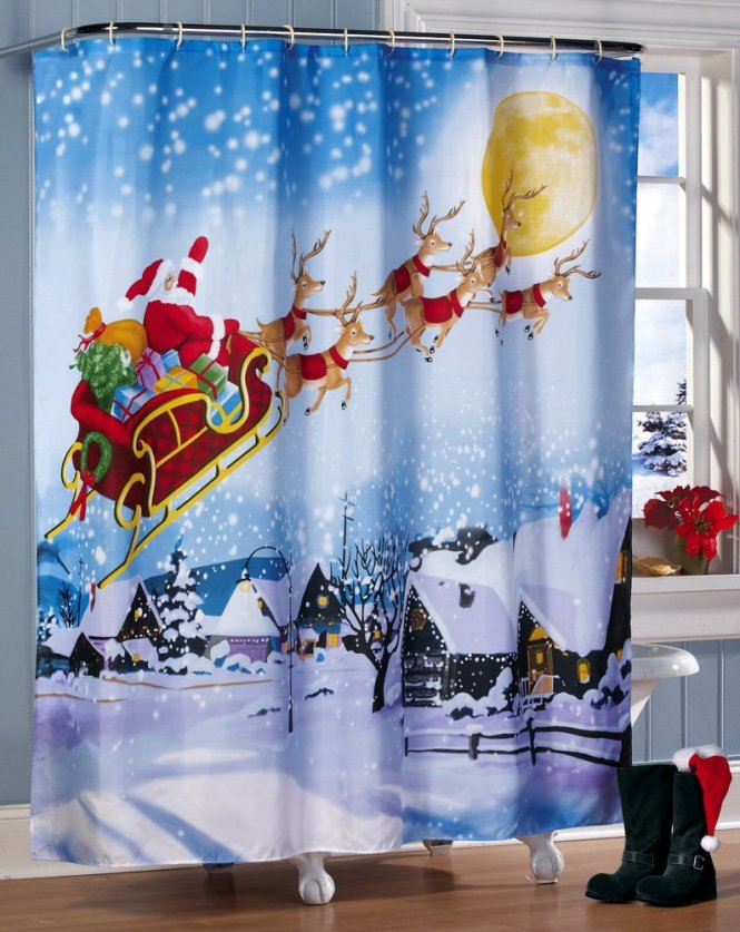 2016 Waterproof Christmas Lantern Snowman Polyester Shower Curtain Bath Bathing Sheer For Home Decorations