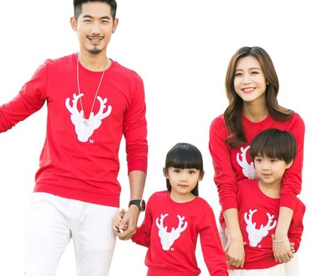 This Is Another Simple Matching Family Christmas Sweater Which You Can Refer Its A Simple Red Sweater With White Reindeer Applique Work