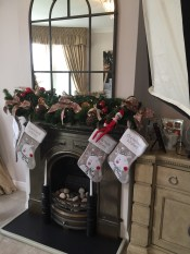 Mantle design by Essentially Christmas Decorating for a photo shoot with Michelle Heaton and Celebrity secrets