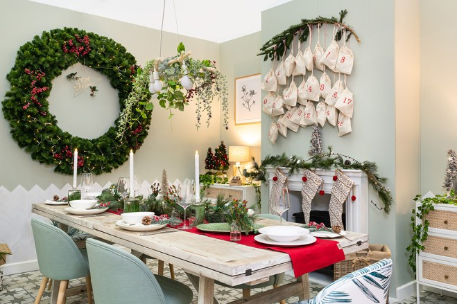 A stunning 1.5m wreath in a dining room