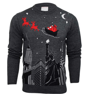 Mens Merry Xmas Christmas Jumper - New York Santa