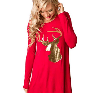Moginp Christmas Gold Elk Dress Women Fashion Dress