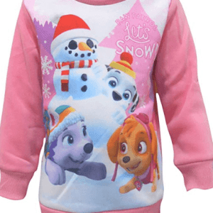 Girls Official Paw Patrol Festive Lets Snow Christmas Jumper for Kids