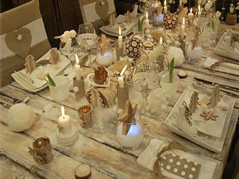 Christmas rustic and white table