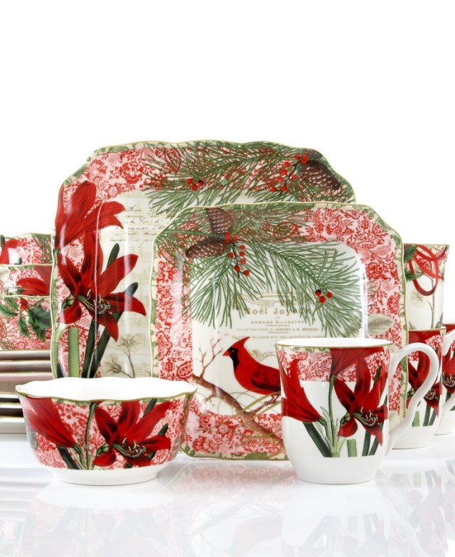 222 Fifth Dinnerware, Holiday Decoupage