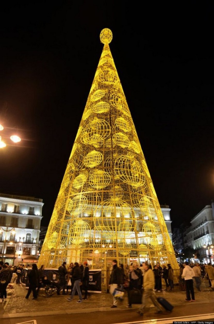 Christmas tree in Madrid, Spain. Christmas trees are like snowflakes — no two are alike. From Brazil to Norway to the Czech Republic, the holiday staples can be seen gracing town squares and towering over monuments