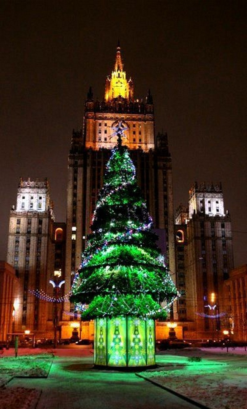 Christmas Tree in. Moscow, Russia. This tree doesn't just represent Christmas. It represents Christmas coming again because Christmas was cancelled after the 1917 Revolution. It came back 75 years later in 1992