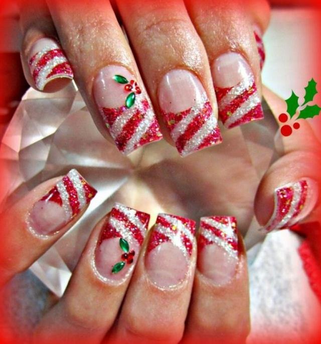Candy Cane and Holly acrylic nails - 30 Festive Christmas Acrylic Nail Designs – Christmas Photos