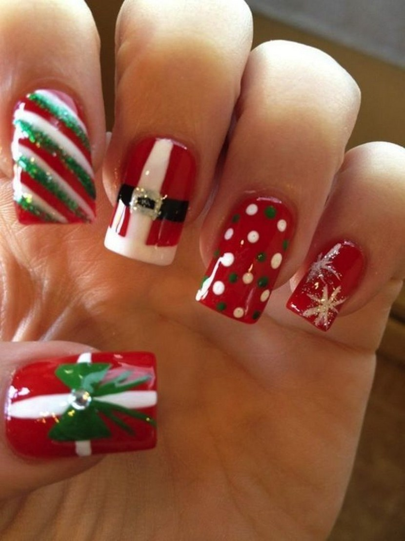 30 festive christmas acrylic nail designs christmas photos christmas acrylic nails i like the red white and green stripes prinsesfo Image collections