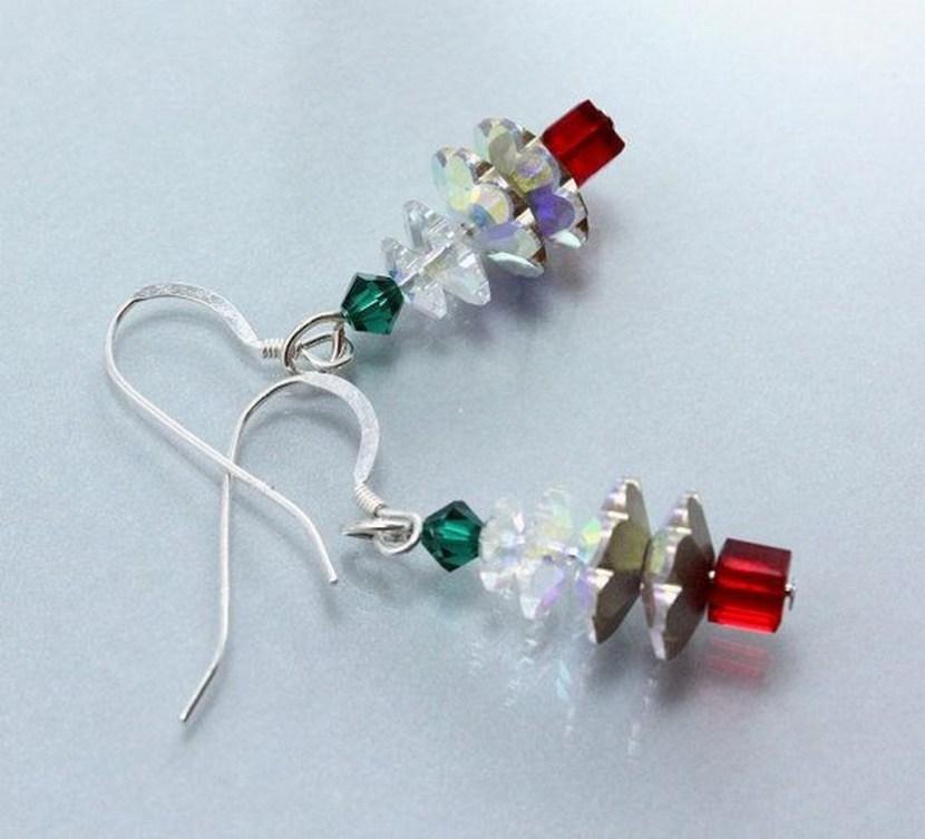 Swarovski Vitrail Christmas Tree Earrings by NancysCrystalFantasi on Etsy, $25.00