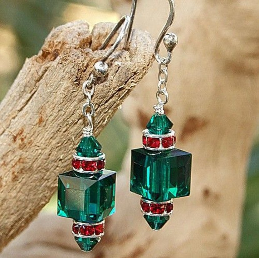 Swarovski Crystal Christmas Earrings Handmade Emerald Siam Green