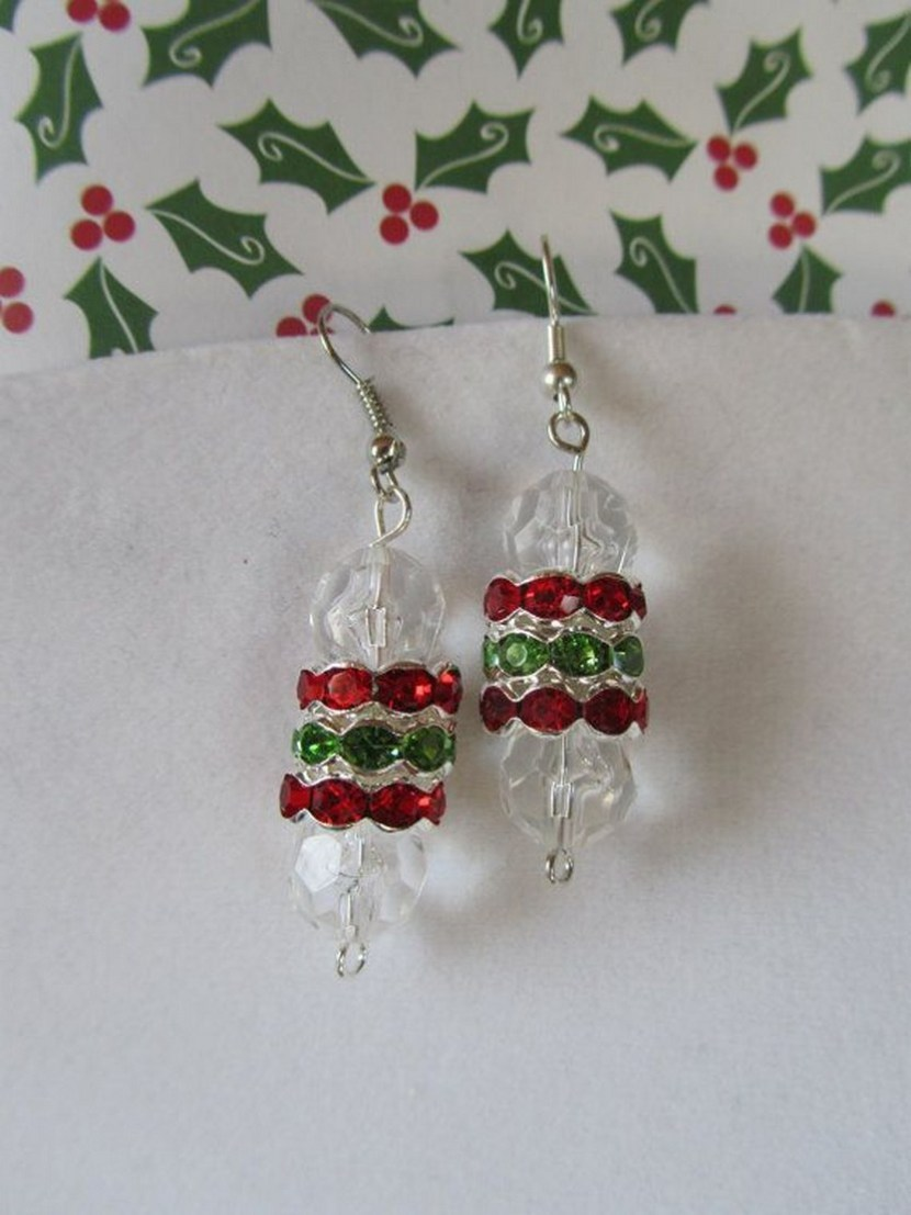Red Green Crystal Christmas Earrings