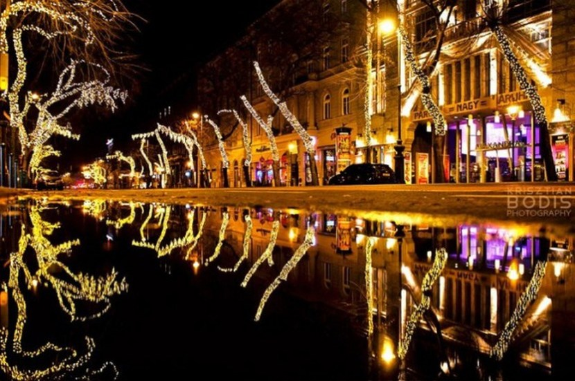 Christmas lights on Andrássy Avenue, Budapest