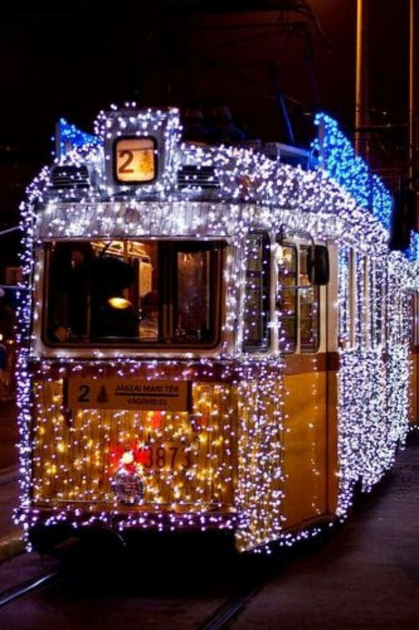 The Christmas Tram in Budapest, Hungary. It is seen here on the number 27 line, but it often operates on the number 2 line along the Pest riverside in December