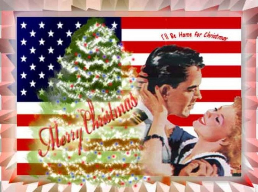Patriotic Christmas Card I'll Be Home for Christmas