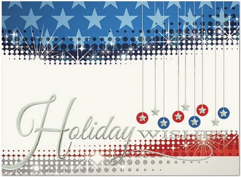 Patriotic Wishes – A patriotic holiday card with a fun contemporary design featuring silver foil embossing
