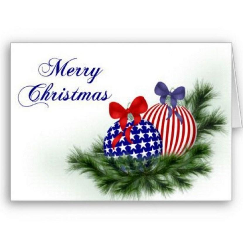 Patriotic Christmas Card of Christmas Bulbs with American Flag Motif