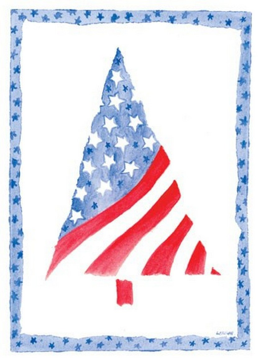Patriotic Christmas tree card