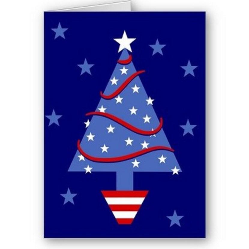 Patriotic Christmas Tree Greeting Card