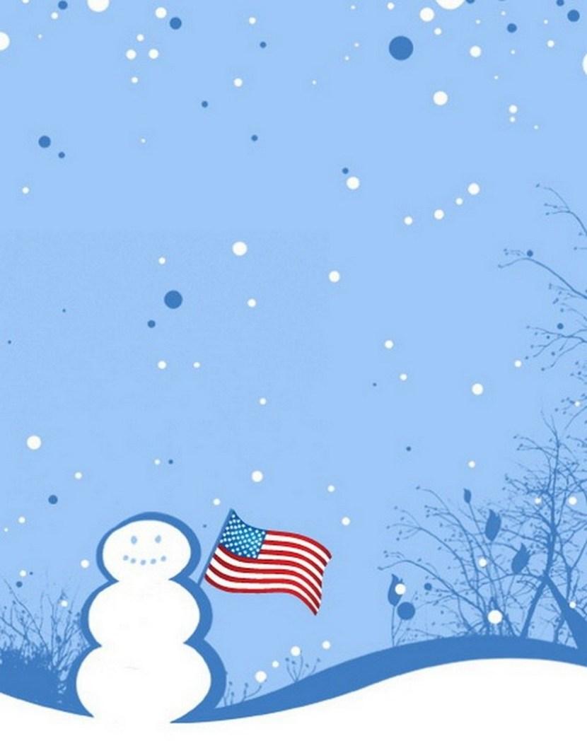 Patriotic Snowman Christmas Card