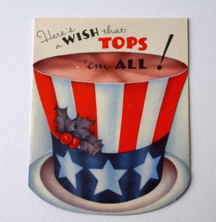 Vintage patriotic top hat Christmas card