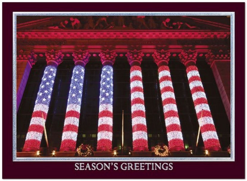 Wall Street Holiday Glow – A financial holiday card with a photo of a very patriotic New York Stock Exchange