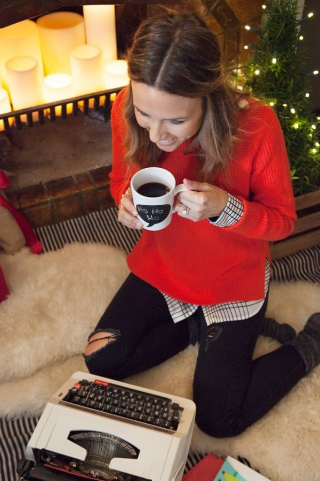 Christmas Day outfit – love the red with blouse underneath